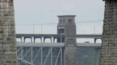 AERIAL United Kingdom-Menai Strait And Bridges Stock Footage