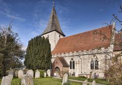 Stock Photo of The 14th century Holy Trinity Church at Bosham West Sussex England United