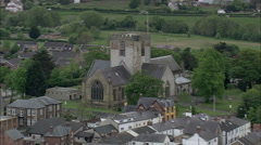 AERIAL United Kingdom-St Asaph And Cathedral (Smallest In Britain) Stock Footage