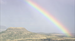 AERIAL United States-Spectacular Rainbow Over Bell Mountain Stock Footage
