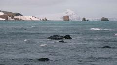 Antarctic Ocean with Vatnajokull glaciers in background Stock Footage