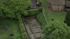 AERIAL United Kingdom-Ribchester Roman Fort Stock Footage