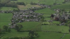 AERIAL United Kingdom-Cartmel Priory And Race Course Stock Footage
