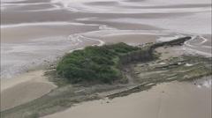 AERIAL United Kingdom-Chapel Island Stock Footage