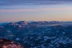 Stock Photo of Sunset on the Apennines from Mount Nerone Monte Nerone in winter Apennines