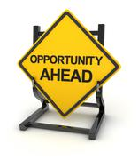 Road sign - opportunity ahead - stock illustration