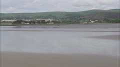 AERIAL United Kingdom-Ulverston Old Canal And Town Stock Footage