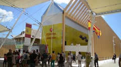 Milano Expo 2015 Pavilion of Spain. Visitor walk along the campus Stock Footage