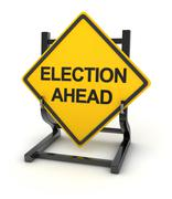 Road sign - election ahead - stock illustration
