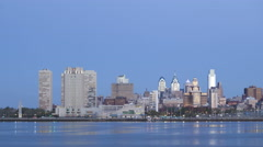 4K Time lapse zoom in Philadelphia Skyline at dawn Stock Footage