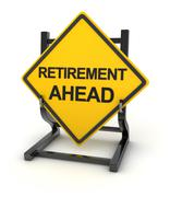 Road sign - retirement ahead Stock Illustration