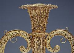 golden and silver filigree, candelabrum - stock photo