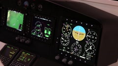 Close up of helicopter simulator panel Stock Footage