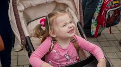 Little Girl Eating Chupa Chups Candy Stock Footage
