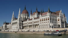 View from a cruise at Hungarian Parliament Building in Budapest Stock Footage