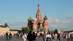 Tourists on Red Square with view of Saint Basil's Cathedral Stock Footage