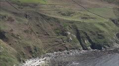 AERIAL Isle of Man-502Q Langness Headland Stock Footage