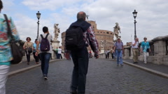 Tourists at Castel Sant'Angelo in Rome. Stock Footage