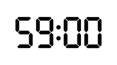 Digital timer countdown of 60 seconds with regular hundredths - On white - 25fps - stock footage