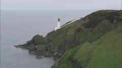 AERIAL Isle of Man-502O Maughold Head Stock Footage