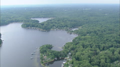 AERIAL United States-Houses On The River Severn Stock Footage