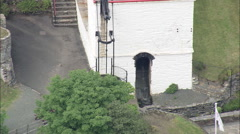 AERIAL Isle of Man-498 Laxey Wheel Stock Footage