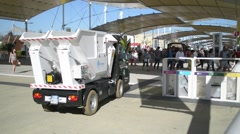 Car garbage collector in the territory of Milan EXPO 2015 Stock Footage