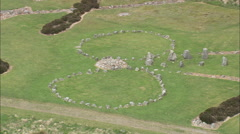 AERIAL United Kingdom-Beaghmore Stone Circles Stock Footage