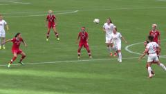 Women's Soccer Match - 03 - Attack, Defense, Pass, Kick Stock Footage