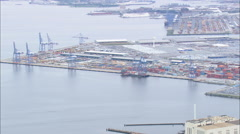 AERIAL United States-Container Being Loaded On Barge Stock Footage