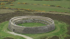 AERIAL Ireland-493 Grianan Ailigh Ancient Site Stock Footage