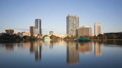 4K Time lapse zoom in Orlando skyline from Lake Eola Stock Footage