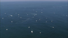 AERIAL United States-Fishing Boats Off Block Island Stock Footage