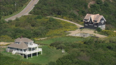 AERIAL United States-Mohegan Bluffs Houses - stock footage