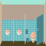 Toilet interior vector illustration. Public lavatory in flat design style. Men - stock illustration