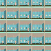Toilet interior vector illustration seamless pattern. Lavatory in flat style - stock illustration