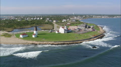 AERIAL United States-Judith Point Lighthouse Stock Footage