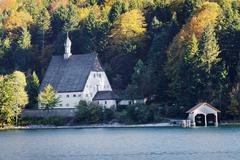 Klosterl Walchensee former monastery on Walchensee Lake or Lake Walchen - stock photo