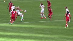 Women's Soccer Match - 04 - Fight for Ball - Slow Motion Stock Footage