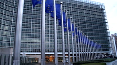 Flags of the headquarters of the Economic European Community Stock Footage