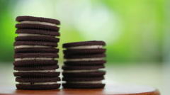 Chocolate cream cookies Stock Footage