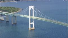 AERIAL United States-Flight Round Newport Bridge Stock Footage