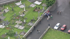 AERIAL Ireland-Drumcliffe Church Stock Footage