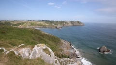 South Wales coast Three Cliffs Bay the Gower Peninsula Swansea Wales uk Stock Footage