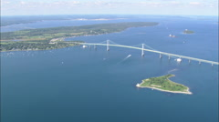 AERIAL United States-Flight And Pan Across Conanicut Island Stock Footage