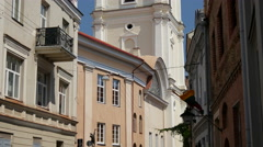 Tilt from the Bell Tower of St. John's Church in Vilnius Lithuania Stock Footage