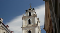 Tilt down from the Bell Tower of St. John's Church in Vilnius Lithuania Stock Footage