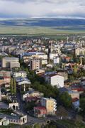 Townscape view from citadel Kars Kars Province Eastern Anatolia Region Anatolia - stock photo