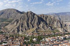 Townscape with castle Amasya river Yesilirmak Black Sea Region Turkey Asia - stock photo