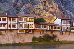 Ottoman houses on the Yesilirmak river Amasya Black Sea Region Turkey Asia - stock photo